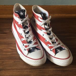 Converse red white and blue